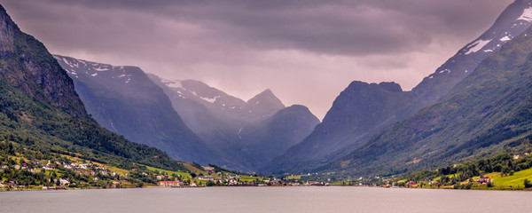 Wall Mural - Panoramic View of Olden village in Briksdalsbreen Glacial valley