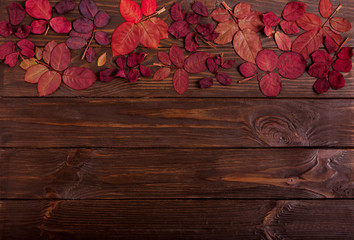 Flat lay frame of autumn crimson leaves on a dark wooden background.