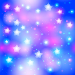 Abstract starry seamless pattern with neon star on Bright pink and blue background. Galaxy Night sky with stars. Vector