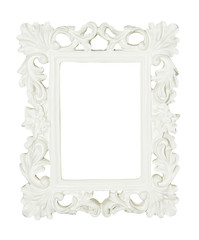 White vintage picture and photo frame isolated.