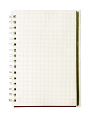 notebook with spiral isolated on white background.
