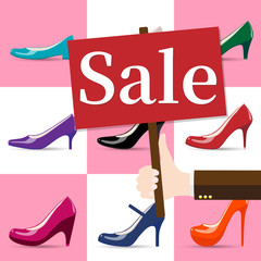 Vector illustration of female shoes sale banner