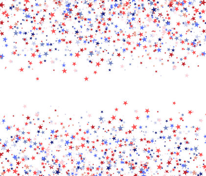 Red, blue and white stars with blank space in the centre, national USA flag colors.
