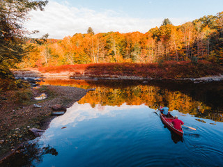 canoe, paddle, river, foliage, autumn, trees, aerial, road, landscape, northeast, new england, country, leaf, change, nature, yellow, orange, forest, pattern, color