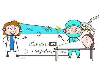 Cartoon Female Doctor Presenting How to Do Operation Vector Concept