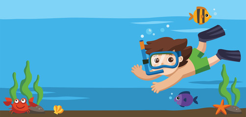 A Little boy diving with fish under the ocean.Template for advertising brochure.