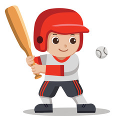 A Cute Boy hitting ball with wooden bat. Baseball player