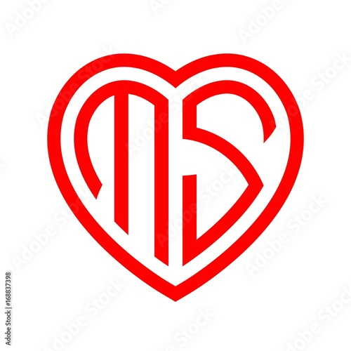 quotinitial letters logo ms red monogram heart love shape