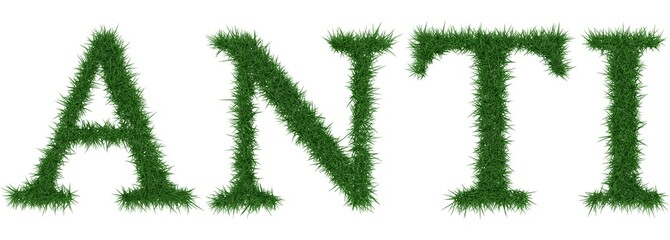 Anti - 3D rendering fresh Grass letters isolated on whhite background.