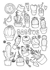 Vector illustration set of cactus doodle line icons with white background eps10