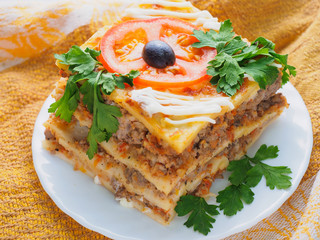 lasagne with meat and tomato on the plate
