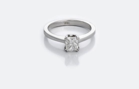 Diamond ring on white Background