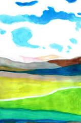 青い空と田舎風景 Blue Sky and Countryside Scenery