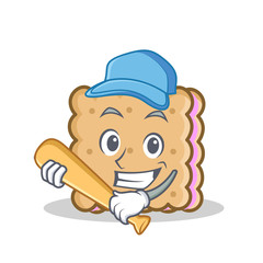 Playing baseball biscuit cartoon character style