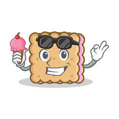 biscuit cartoon character style with ice cream
