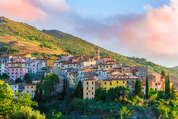 Wall Mural - View of Rio Nell'Elba village at sunset time, Elba Island, Tuscany, Italy.