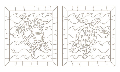 Set of outline illustrations in the style of stained glass with sea turtles into the waves, a dark outline on a white background
