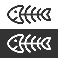 Funny fish skeleton icon
