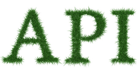 Api - 3D rendering fresh Grass letters isolated on whhite background.