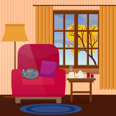 Cozy interior of living room with autumn tree in the window, cup of tea and cat sleeping. Flat style, design template