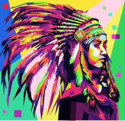 Apache Girl in pop art style