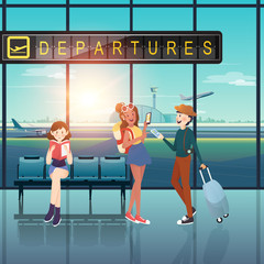 People with departures tag at airport flat design