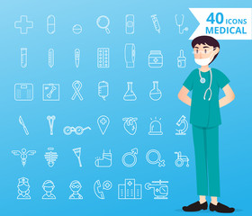 40 icons medical and healthcare for infographic
