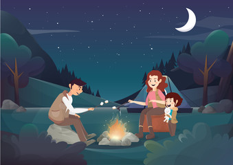 Cozy family camping in the night illustration.vector
