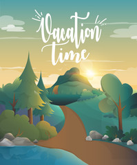 Vacation time for traveling in the forest illustration.vector