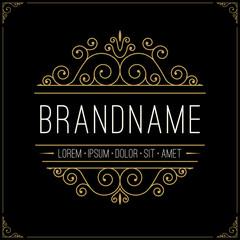 Luxury logo in vintage style. Line art retro monogram, insignia, emblem, logotype, label with elegant floral ornamental design elements. Vector illustration