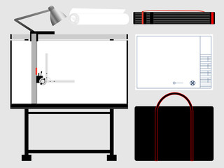 Set of isolated architect tools, drafting table. Vector illustration.