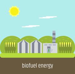 Biofuel plant. Flat design