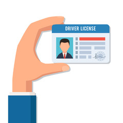 Hand holds a driver license