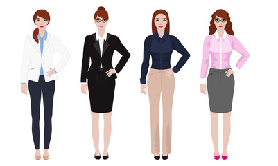 Young woman in different office outfit, businesswoman look, vector illustration set