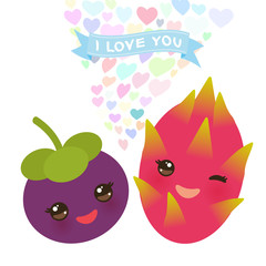 I love you Card design with Kawaii mangosteen and dragon fruit with pink cheeks and winking eyes, pastel colors on white background. Vector