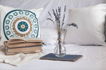 Beach home decor with boho cushions