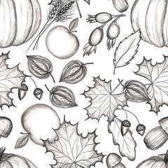 Rustic fall. Seamless Pattern. Pencil drawing