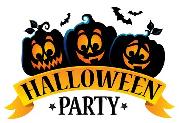 Halloween party sign theme image 1