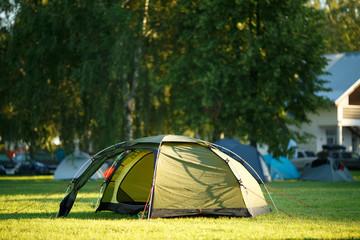 Green tent at tourist camp
