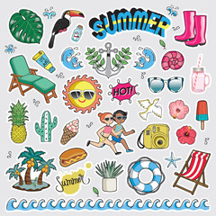 Vector illustration set of fashion patch badges. Cute sticker collection for summer.