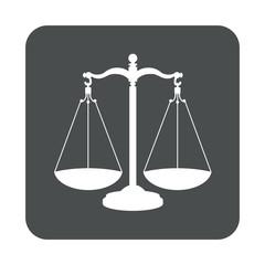 Icono plano balanza en cuadrado gris