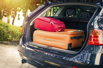 car with suitcases, travel and luggage