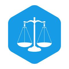 Icono plano balanza en hexagono azul