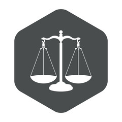 Icono plano balanza en hexagono gris