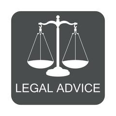 Icono plano LEGAL ADVICE con balanza en cuadrado gris