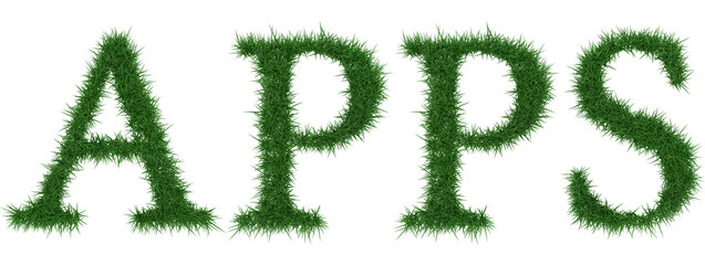 Apps - 3D rendering fresh Grass letters isolated on whhite background.