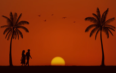 Silhouette walking couple on beach in flat icon design under sunset sky background
