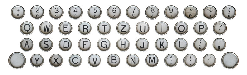 Buttons of keyboard of old classical typewriter