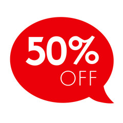 Special offer 50% off sale red speech bubble tag vector illustration. Discount offer price label, symbol advertising in retail, sale promo marketing, 50% off discount sticker, ad offer on shopping day