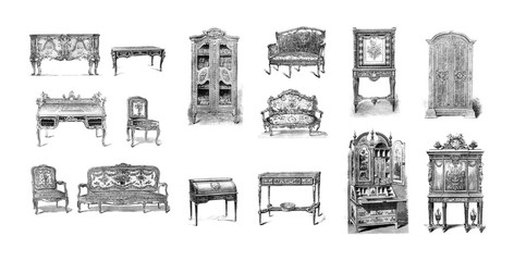 Antique furniture on white background Wall mural